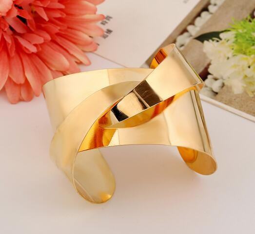 Punk Women Ladies Gold Silver Hollow Open Wide Bangle Cuff Jewellery Bracelet