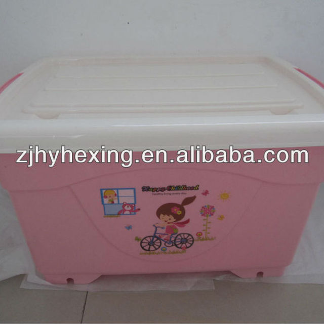 50L Plastic wheel storage box PP container with wheels