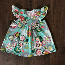 latest cotton frock design dresses for baby girls floral print pearl dress newest flower fancy girls dress