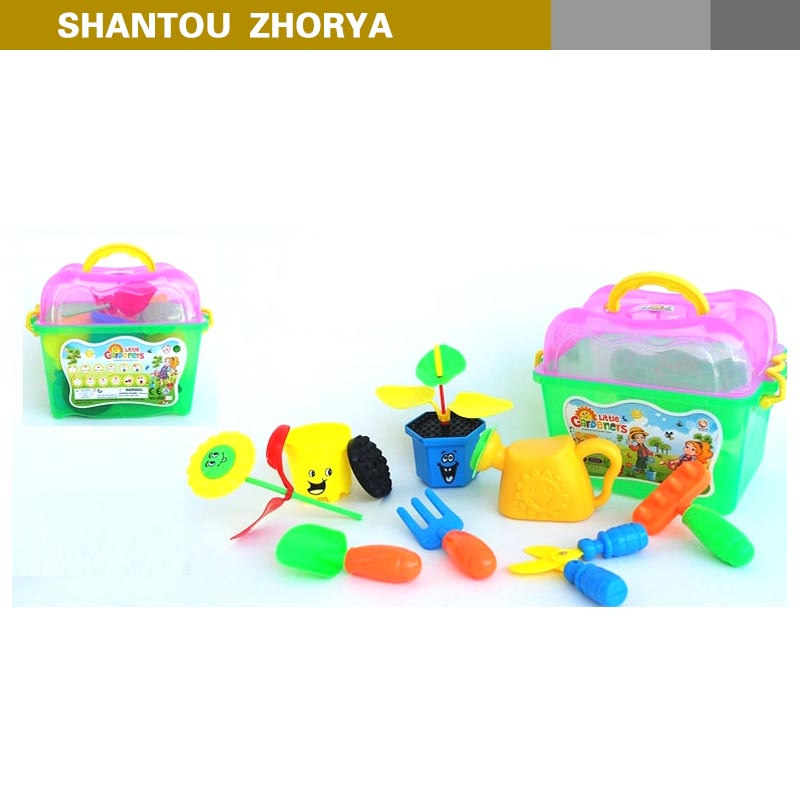 Good quality farmer series plastic plant flower play kit 12 pcs kids mini plastic toys garden tool set