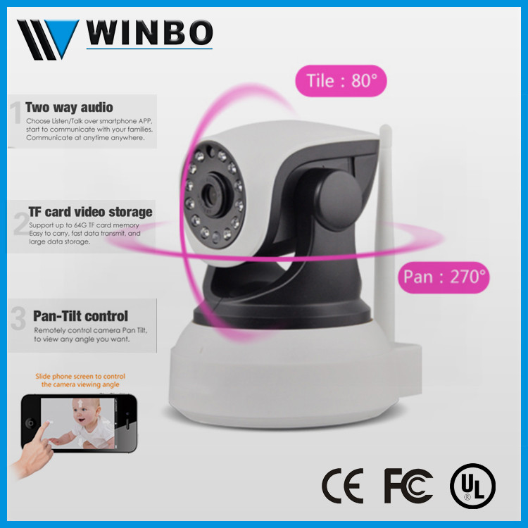 Household remote control two way audio pan tilt wireless cctv camera