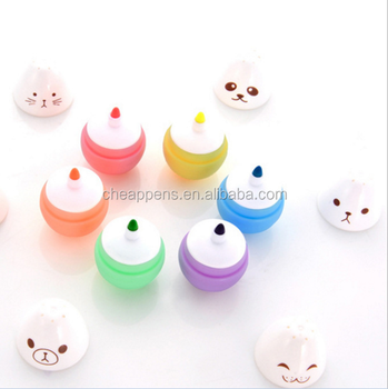 mini cute egg shape colorful highlighter markers 6 color set highlighter pens