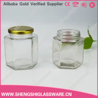 380ml-730ml hexagonal clear honey glass jars