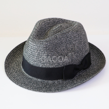 Unisex England lattice jazz knitted black fedora straw hat cap for travel