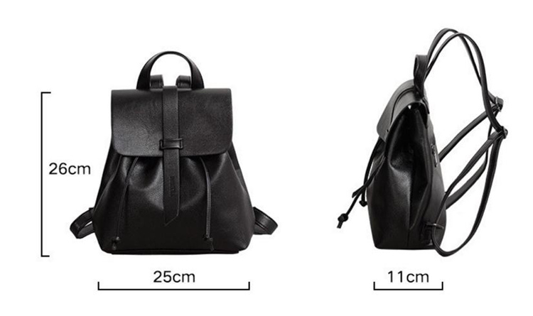 Concise Pure Black Color Fashion Soft PU Leather School Backpack
