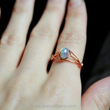 Fashion Jewelry Womens Wire Ring Copper Czech Glass Vintage Engagement Rings