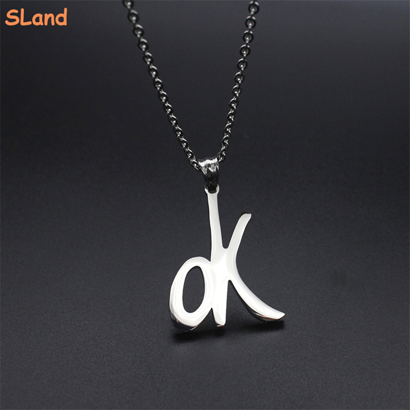 Minimalist Men & Women high quality polished titanium stainless steel ok word necklace pendant Jewelry Low MOQ wholesale
