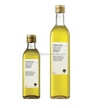 250ml and 500ml glass olive oil bottle clear sqaure shape with label