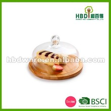 Factory price glass cheese dome with bamboo board set