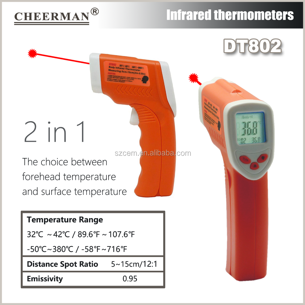 DT802 Household / Clinic Usage and Infrared Thermometer Theory Digital infrared forehead thermometer