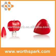 sweet love plastic red heart shape USB