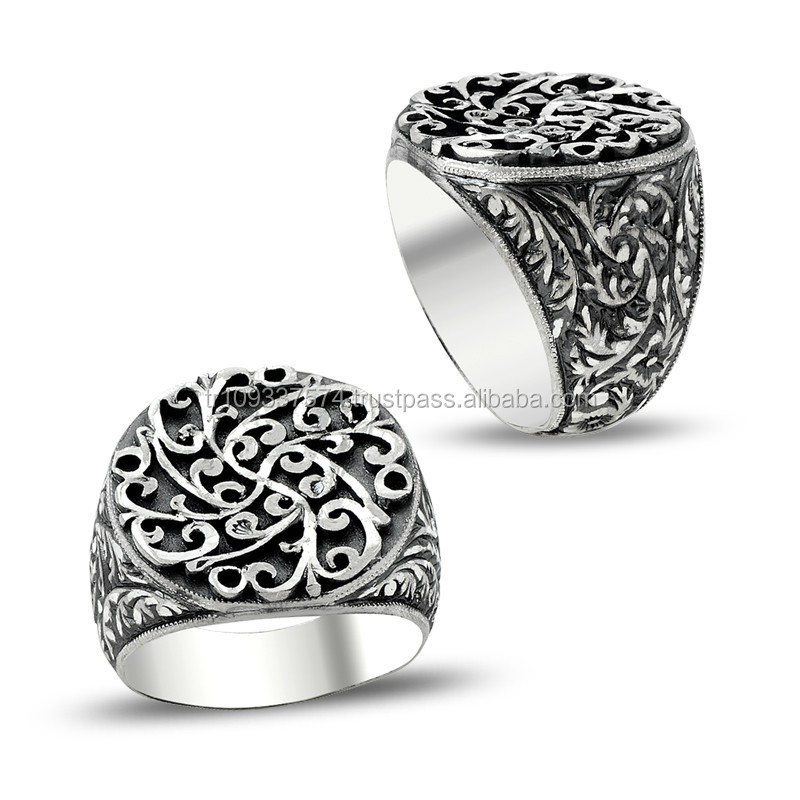 925K Sterling Silver Art Design Carved Turkish Men Round Ring Handmade