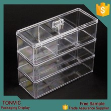 Clear Acrylic Cube Makeup Storage Organizer Box Display