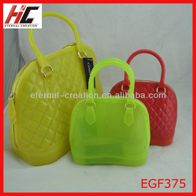 2014 hot selling new arrival high quality large shell plaid clear pvc fashion tote bag jelly handbag