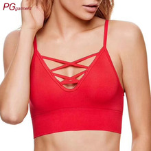 wholesale elastic bindings cross straps seamless bra cotton bralette crop top womens sexy bralette