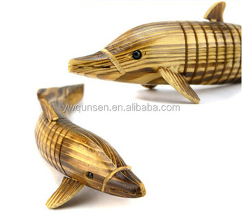 new product dolphin wood carving wooden arts and craft