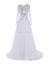 Latest cheap wholesale white A line wedding dress 2016 with long sleeves