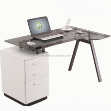 Hot selling low price glass computer desk with bookshelf