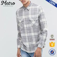 Custom Newest Casual Style Men's Plain Flannel Shirt