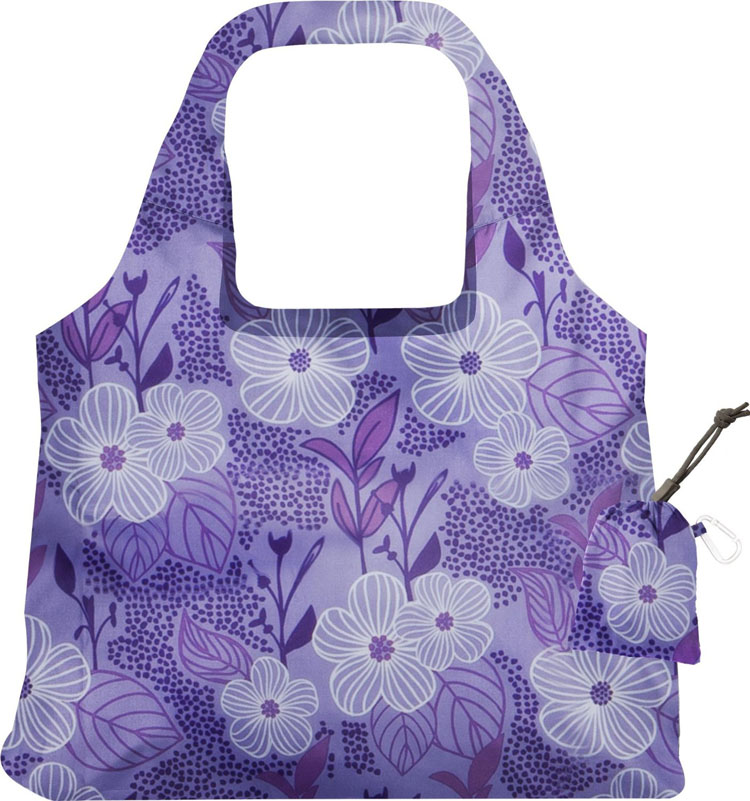 Purple Blooms Collection Bag Lady Reusable Grocery Shopping Bags