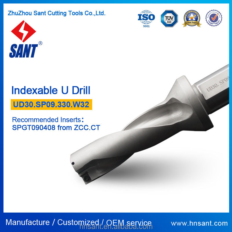 Indexable U Drill From Zhuzhou SANT UD30.SP09.330.W32 <strong>Drilling</strong> Tool With Carbide Insert SPGT090408 Or SPMG090408