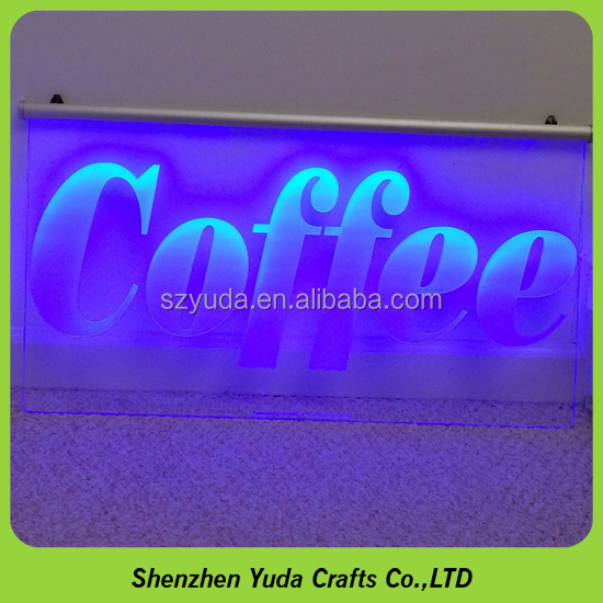 Edgelit acrylic signs coffee led sign with customer's design