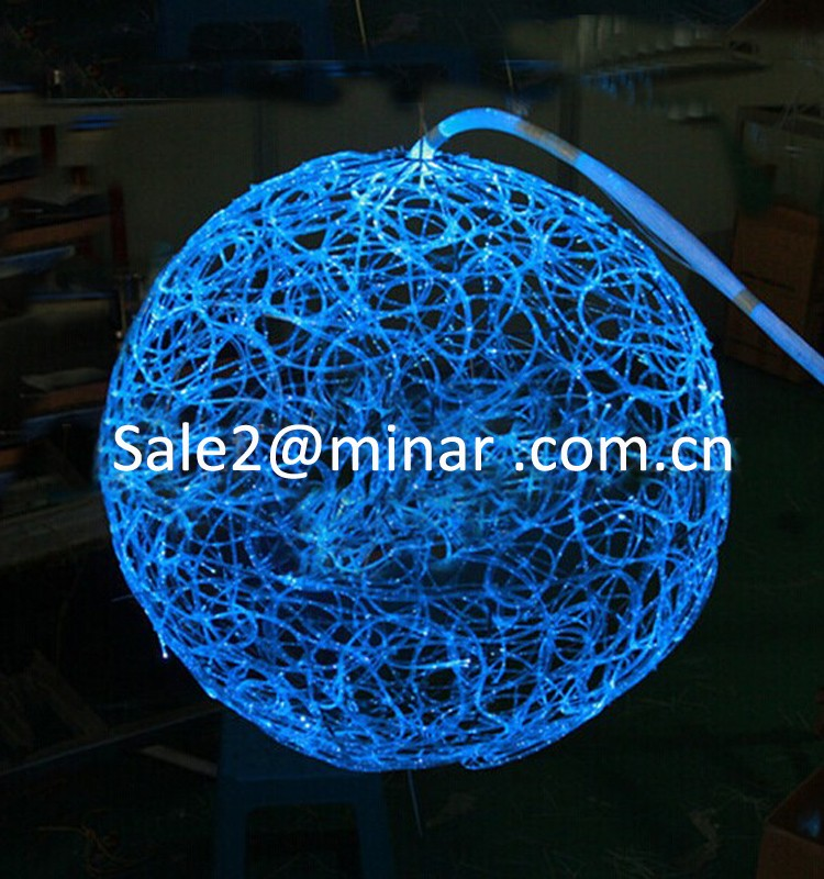 Led fiber optic light ball shape chandelier for night club lighting