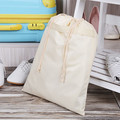 Recycling eco-friendly creamy white polyester shoe drawstring bag