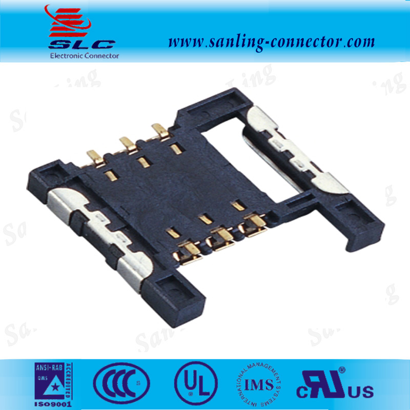 2.54mm Pitch 6pin short sim card power socket