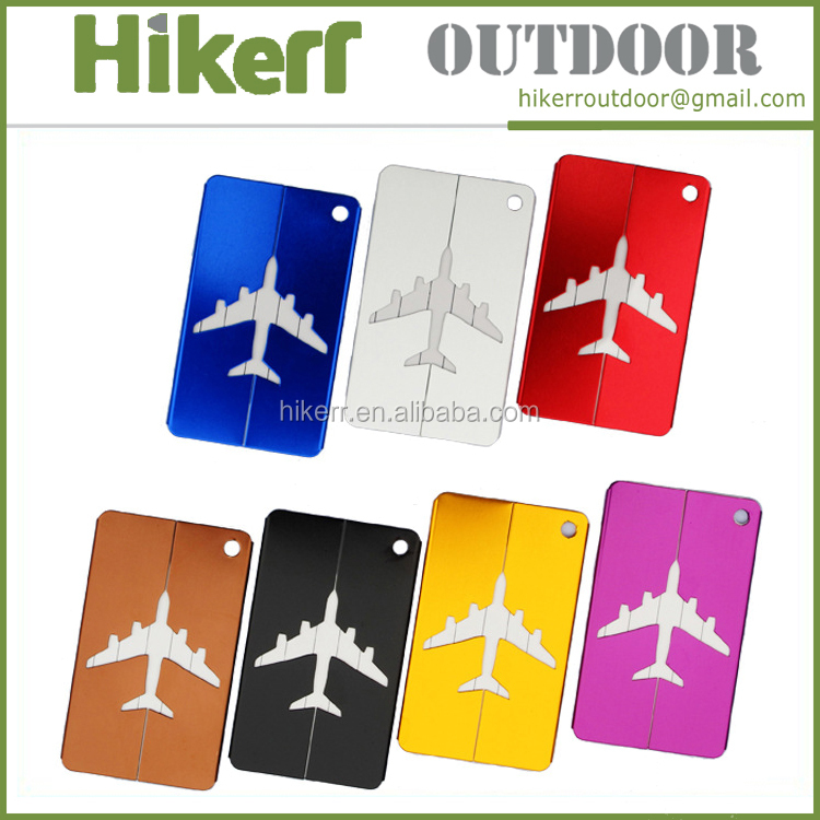 Promotional travel tag alumium alloy air plane luggage tag custom metal luggage tag