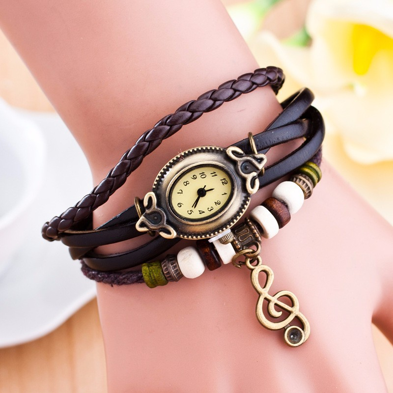 2015 New Arrival Hot Sale Wholesale High Quality Fashion Musical Note Wrist Watch Lady Women Vintage Leather Watches