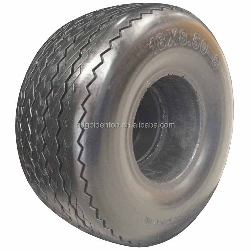 18 inch 8.50-8 flat free PU tire golf cart wheel for lawn mowers, golf carts