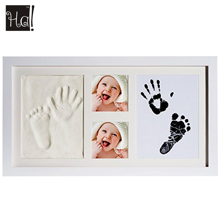 Baby Souvenir Nursery Decor Hand Print and Footprint Collage Photo Frame with Safe Clay and Touch Ink Pad