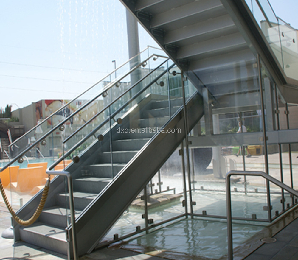 Prefab stairs/Granite stairs/morden indoor stainless steel glass stairs