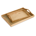 BSCI&FSC custom decorative handmade clear varnish set of 2 pcs wooden tray with handle
