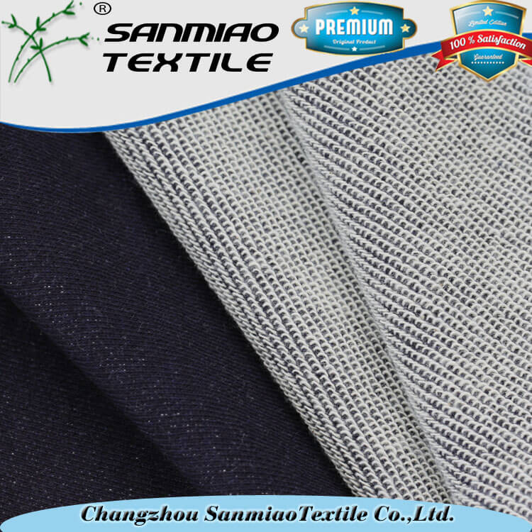 Knitted wholesale low prices 100% cotton fleece denim fabric for jeans WHCP-07