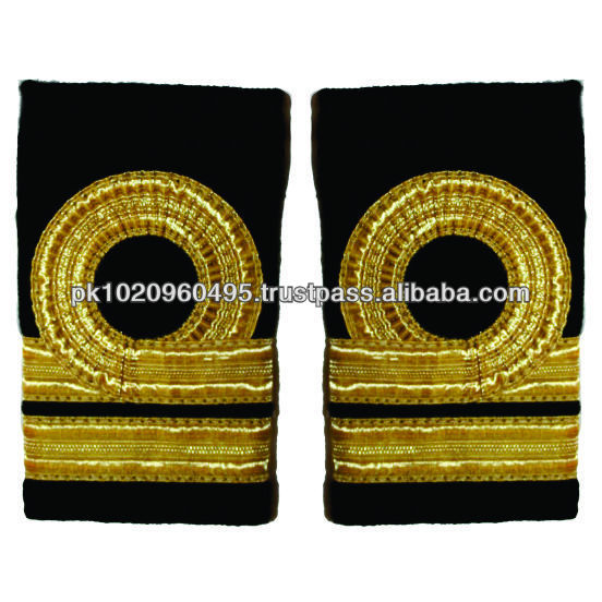 One Bar and 1 Circle Gold Wire French Braid Royal Navy Epaulette Rank Insignia | Slip-on Shoulder Rank