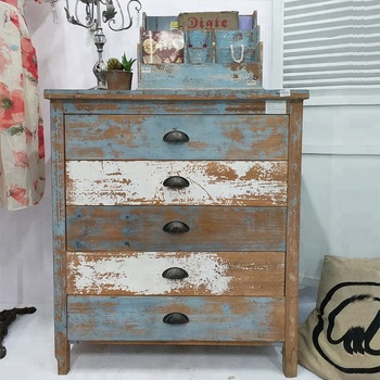 Wholesales Vintage Used Recycled Wooden Chest of Drawers Shabby chic living room furniture