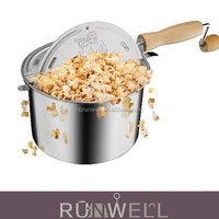 Aluminium material hand crank home popcorn machine using on gas top