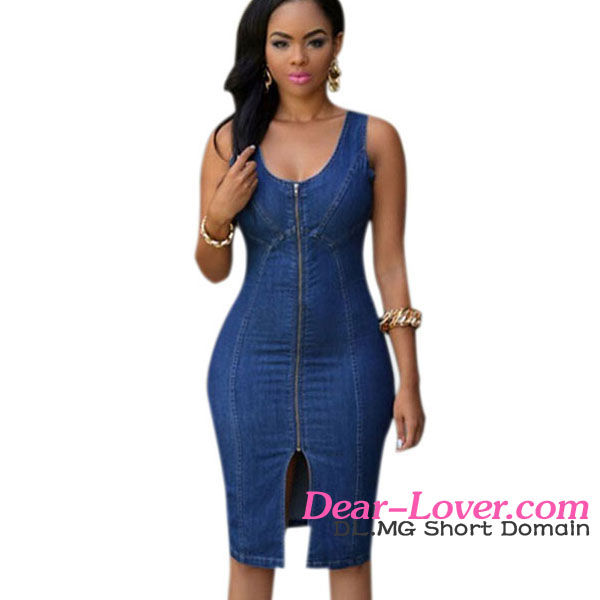 Summer Faddish Denim Zipper Front Midi Frocks Designs Woman Dresses