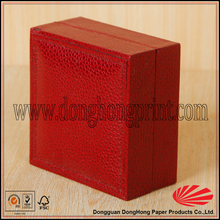 Red color custom coarse texture pu leather ring boxes