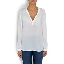 100% Rayon Long Sleeve Deep V Neck Summer women's Blouses / european fashion sexy deep v neck blouses