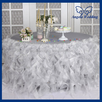 CL010J New Custom made elegant organza 120'' round ruffled frilly fancy wedding light grey silver curly willow table cloths