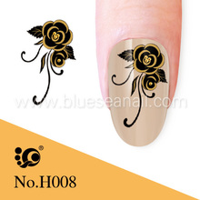 black rose writing nail sticker water decal, nail art dried flower