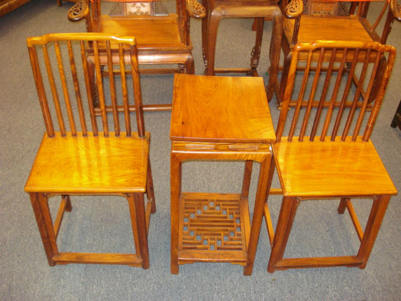 Huanghuali Comb Design Lady Chair set of 3pcs