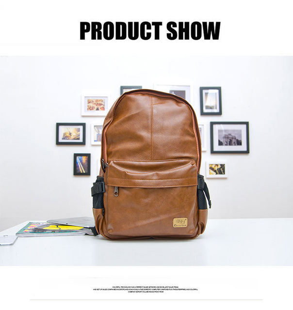 2015 top quality brand fashion black leather men's backpacks preppy style brown women backpack bolsas  P36