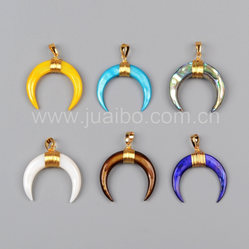 Gold Wire Wrapped Imitate Natural Stone Necklace Moon Shape crescent horn pendant G1122