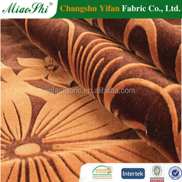 Top level double flock fabrics with flower flocked linen fabric/polyester nylon fabric