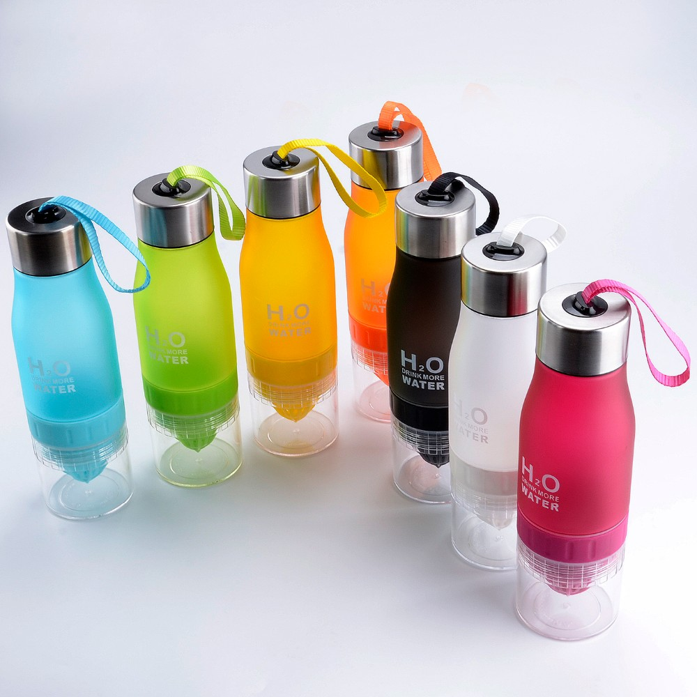 650ml multi color H2O plastic Lemon Cup water bottle camping drinking water bottle