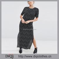 New Wholesale Export Factory Price Custom Short Sleeve Polka Dot Long T-Shirt Dress